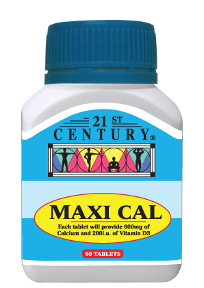 Maxi Cal, 60 tablet, 600mg Kalsium setiap tablet + Vitamin D